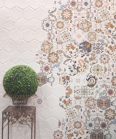 feature wall: wall tiles decoration with planting feature Stock Photo