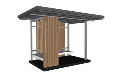 pavilion: isometric of outdoor pavilion on white background