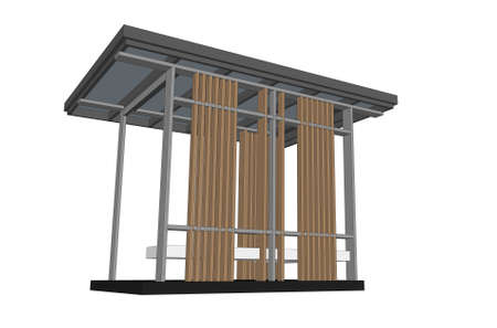 pavilion: isometric of outdoor pavilion on white background