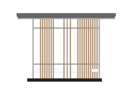 elevation: elevation of outdoor pavilion on white background Stock Photo