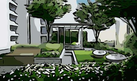 pavilion: abstract perspective of pocket park or pavilion Illustration