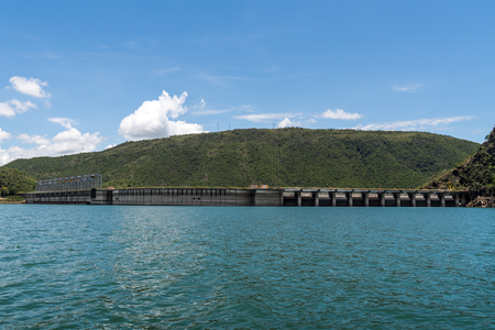 View from behind the floodgates of an electric power dam