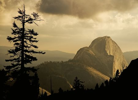 half dome: Half Dome at dusk in Yosemite, California
