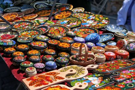 souvenirs: Souvenirs on a table at market in Russia
