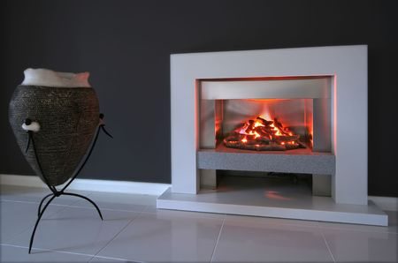 arty: Living room interior with fireplace in contemporary home Stock Photo