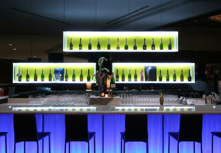bar counters: Bar in trendy club Stock Photo