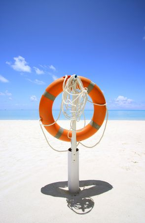 stow: life buoy at exotic beach