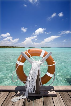 Life buoy on jetty Stock Photo - 3149022