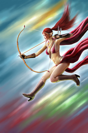 Female Elf Warrior Attack (Digital Painting) Stock Photo