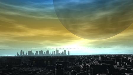 Alien Planet Futuristic City Skyline 3d rendering