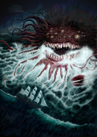 Gigantic Sea Monster Digital Painting Stock Photo