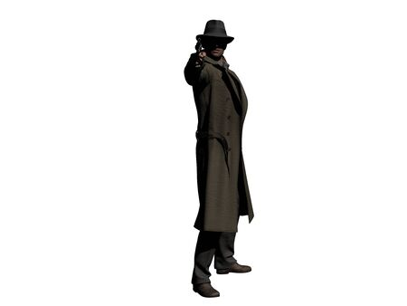 Detective in Trench Coat with a Gun 3D illustration