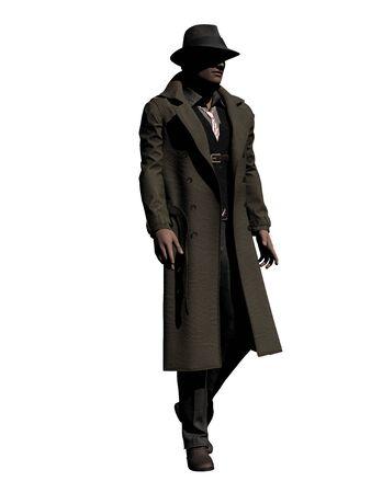 Walking Detective in Trench Coat 3-D Illustration