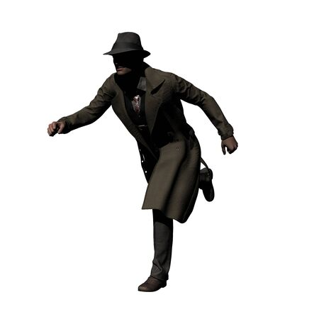 Running Detective in Trench Coat 3d illustration