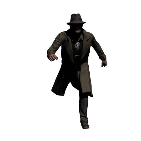 Running Detective in Trench Coat 3d illustration