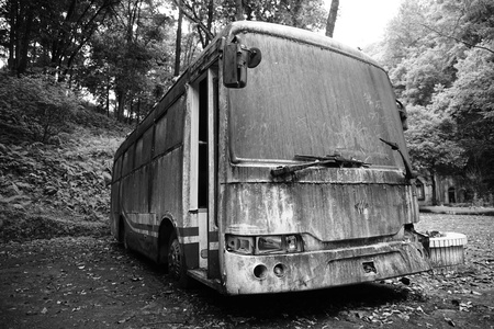 Old bus left unattended in a town