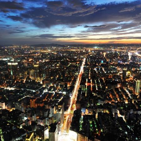 taipei: taipei city at night , view from Taipei 101 skyscraper , Taiwan.