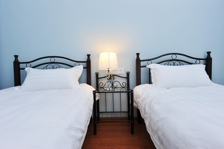 Two beds bedroom with bedside table and lamp