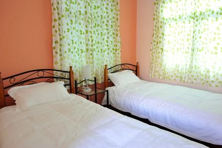 bedside: Dos camas dormitorio con mesita de noche y l�mpara.