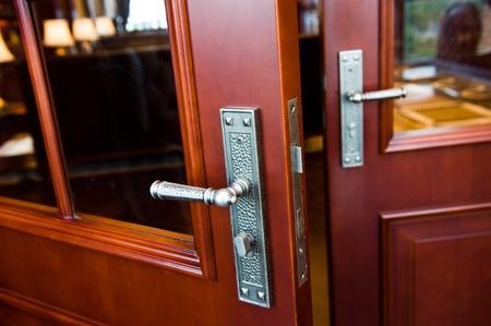 entryway: open door to the office. Stock Photo