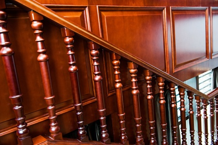 trims: A close up of interior staircase showing details