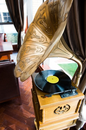 phonograph: Old gramophone on display inside a home