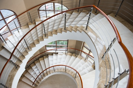 wide-angle view down a spiral stairs from the viewing platform at the highest point  Stock Photo - 13237097