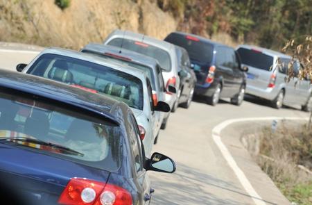 Cars sitting in traffic jam. 新聞圖片