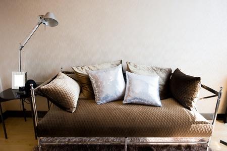 Contemporary living room interior with sofa.