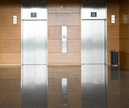 Elevator with two silver door Stock Photo - 13266499