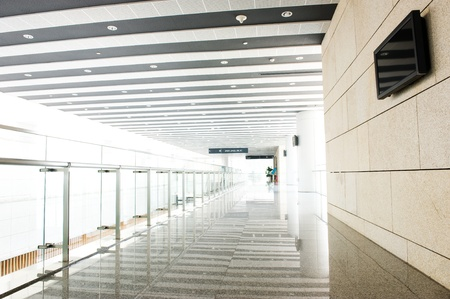 medical building: glass corridor in office centre