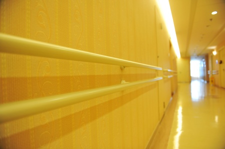 hand rail: long corridor in  hospital with hand rail.   Editorial