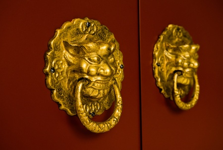 Golden lion handles on a red door. photo