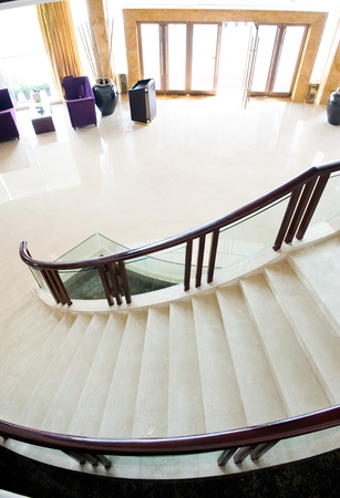 top view of stairs in a modern building.