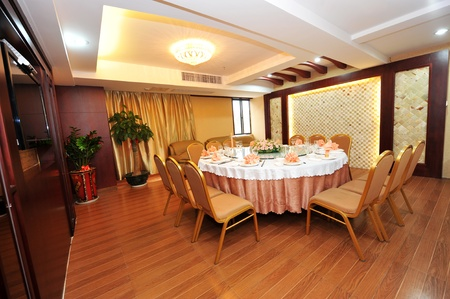 commodious: a shot of interior of chinese restaurant.   Editorial