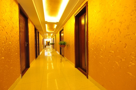 long hotel corridor with light,nobody.