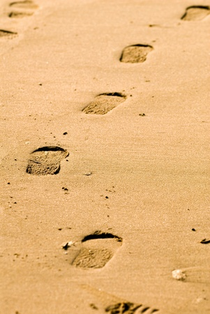 shoe print: Foot steps in the sand.