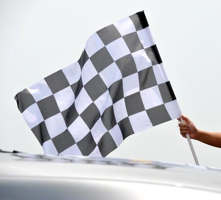 goal flag: checkered race flag in hand.