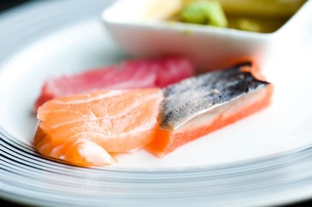 Japanese Food, Plate of Sashimi, Sliced Raw Fish. photo