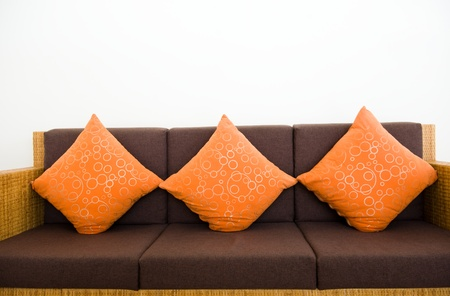 Sofa standing on background white wall Stock Photo - 13344793