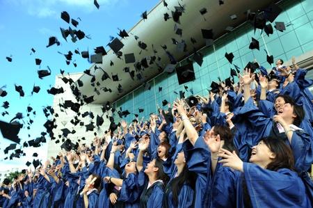 high school graduation hats high  Editorial