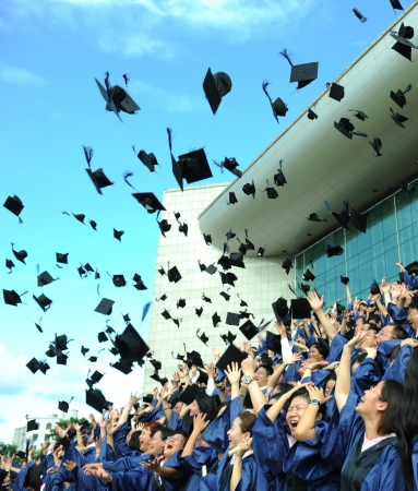 graduation background: high school graduation hats high  Editorial