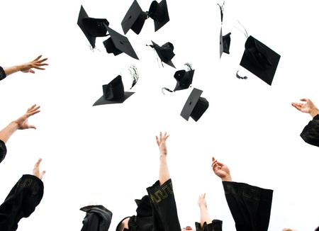 mortero: altos sombreros de graduación de secundaria