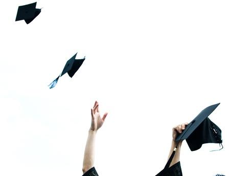high school graduation hats high Stock Photo - 13447573