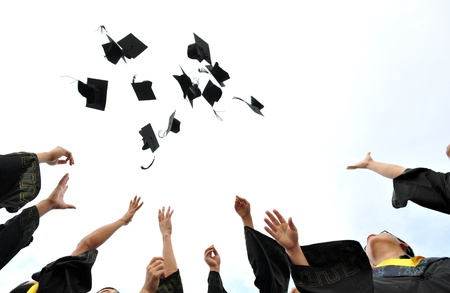 high school graduation hats high  Stock Photo