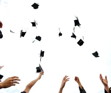 academic achievement: high school graduation hats high  Stock Photo