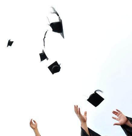 high school graduation hats high Stock Photo - 13447603
