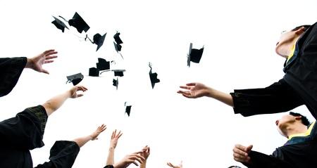 grad: high school graduation hats high  Stock Photo