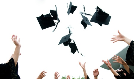 fondo de graduacion: altos sombreros de graduaci�n de secundaria