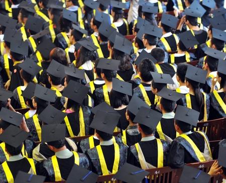 Shot of graduation caps during commencement. photo